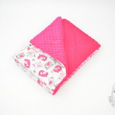 Różowy kocyk minky dla dziewczynki