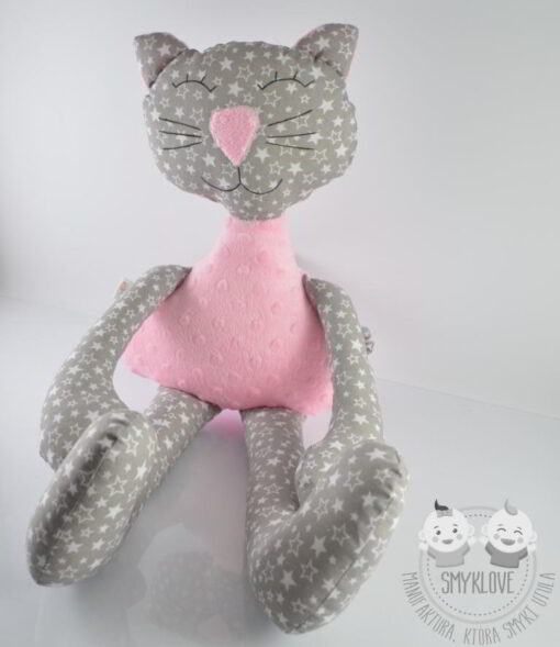 Przytulanka kot różowy - widok z góry
