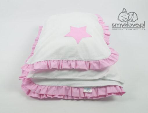 Złożona pościel do łóżeczka z różową falbanką i naszyta gwiazdką - Smyklove