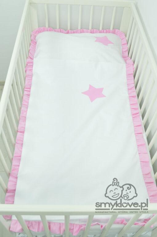 Pościel z różową falbanką do łóżeczka - Smyklove