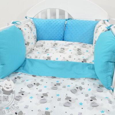 Piękny zestaw: pościel i ochraniacz do łóżeczka