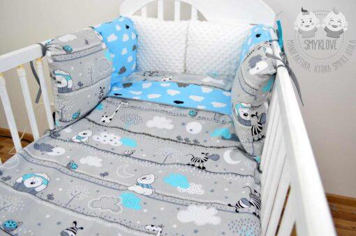 Pościel do łóżeczka 120x60 dla chłopca z ochraniaczem