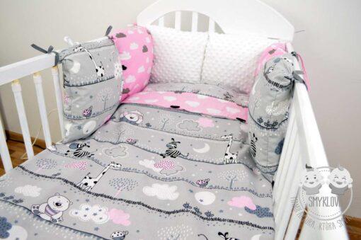 Pościel do łóżeczka 120x60 dla dziewczynki z ochraniaczem