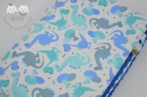 Kocyk minky szafirowy w dinusie - tkanina bawełniana