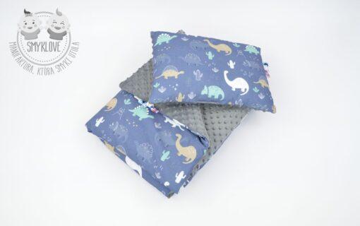 Zestaw - kocyk oraz poduszka minky z dinozaurami