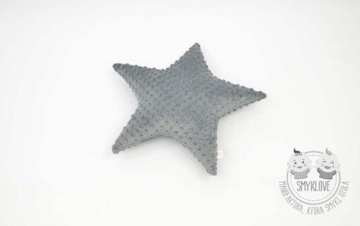 Poduszka gwiazdeczka z szarego minky