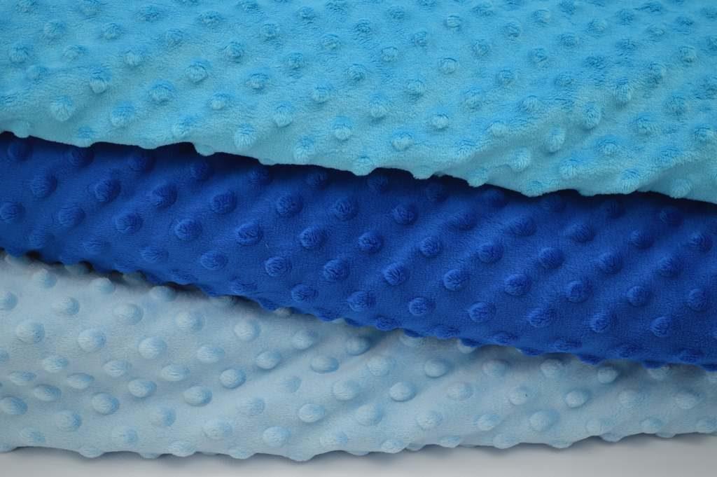 Zdjęcie różnych odcieni niebieskiego materiały minky dots