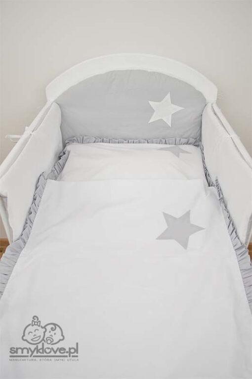 Ochraniacz do łóżeczka szaro-biały wersja szara