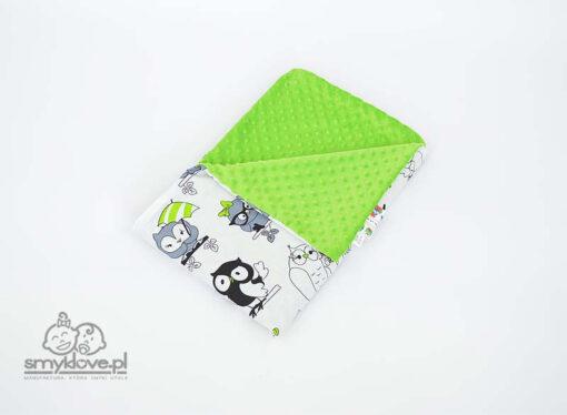 Kocyk minky zielony - widok na minky i bawełnę