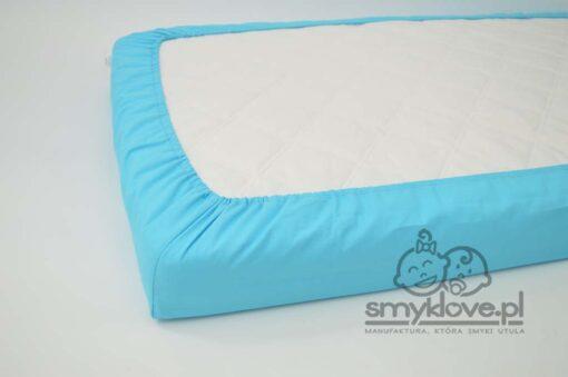 Niebieskie prześcieradło z gumką do łóżeczka 120x60