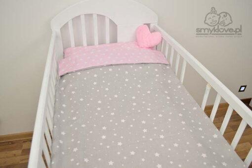 Pościel niemowlęca różowo-szara w gwiazdeczki