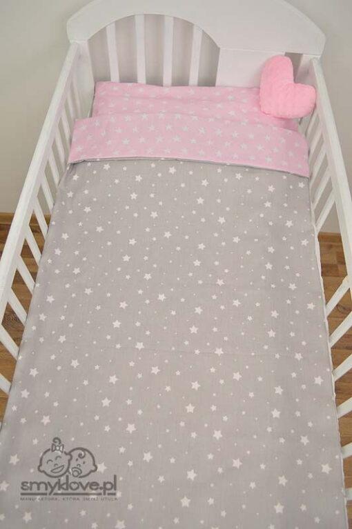 Pościel do łóżeczka szara w gwiazdki