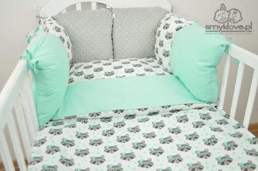 Pościel do łóżeczka miętowa w szopy od Smyklove
