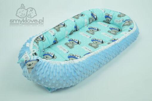 Kokon niemowlęcy dla chłopca z niebieskiego minky