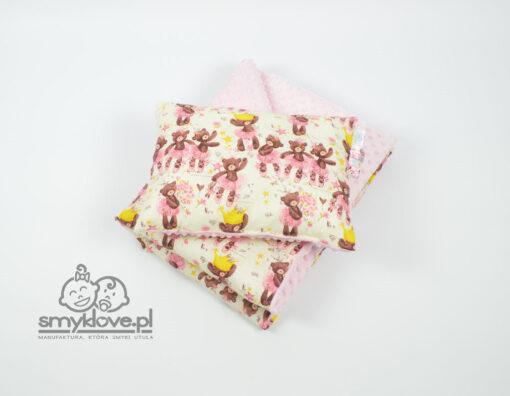 Kocyk dziecięcy z poduszką z różowego minky - handmade od Smyklove