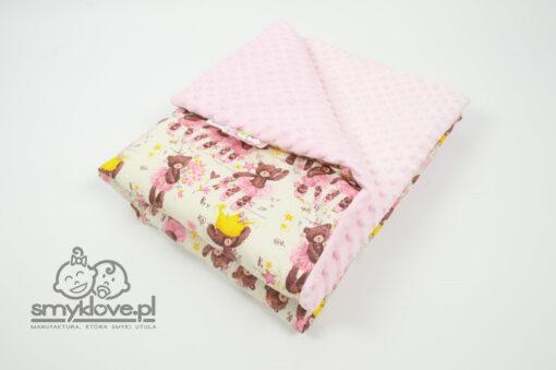 SMYKLOVE - Kocyk dziecięcy z różowym minky dla dziewczynki