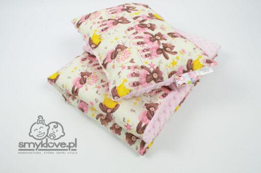 Poduszka oraz kocyk dziecięcy - zestaw z różowym minky od Smyklove