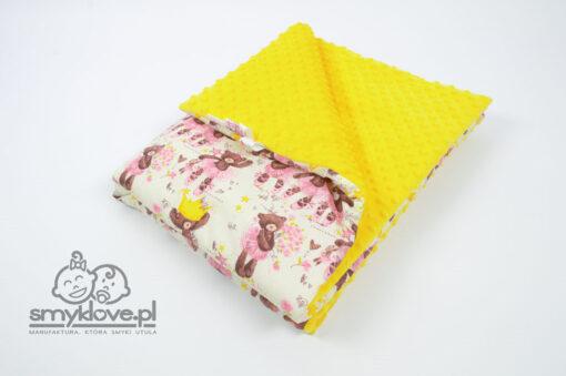 Kocyk dziecięcy z bawełny i żółtego minky - SMYKLOVE