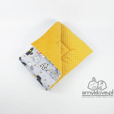 Musztardowe minky oraz bawełna w kotki - kocyk od Smyklove