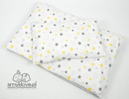 Pościel niemowlęca do łóżeczka w żółte i szare gwiazdki od Smyklove