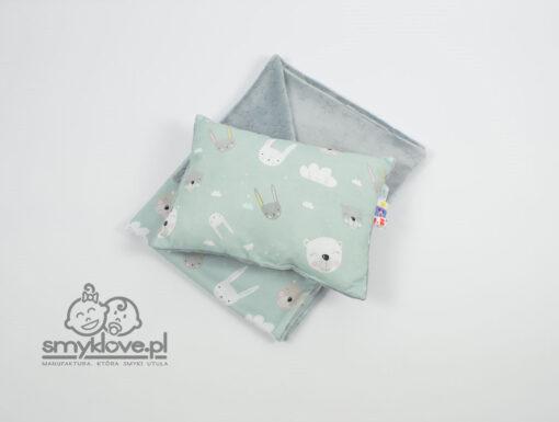 Zestaw kocyk minky burnut oraz poduszka z wypełnieniem premium