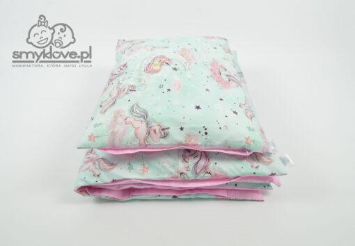 Pozłacana pościel jednorożce do łóżeczka niemowlęcego - hand made od Smyklove