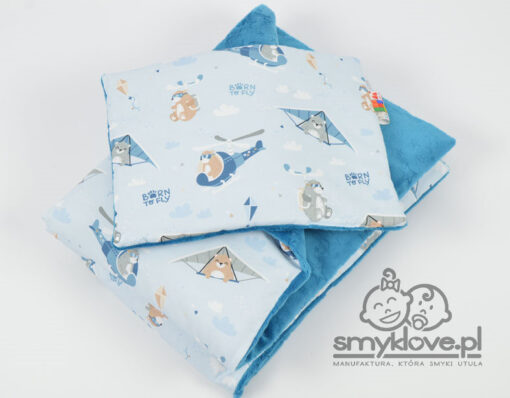 Kocyk minky born to fly w wersji z wypełnieniem i z poduszką płaską -Smyklove