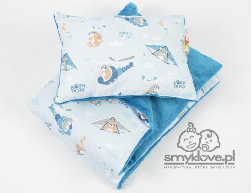 Kocyk minky born to fly w wersji z wypełnieniem i z poduszką z wypełnieniem -Smyklove