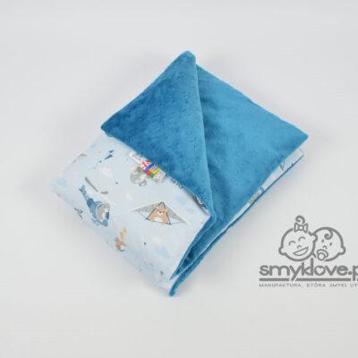 Piękny kocyk minky burnout w gwiazdki z tkaniną premium born to fly - Smyklove