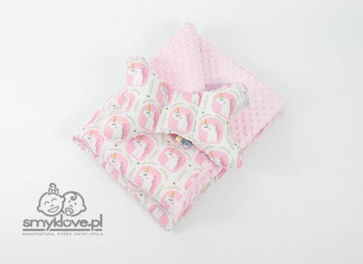 Kocyk minky jednorożce z poduszką motylek - Smyklove