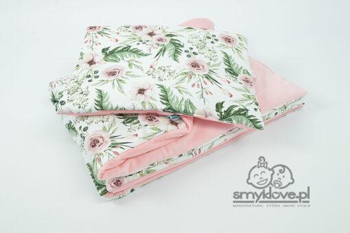 Kocyk velvet in garden z płaską poduszką dla niemowlaka - SMYKLOVE