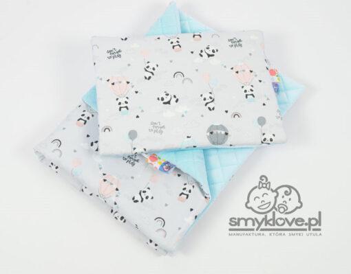 Kocyk velvet pandy z poduszką płaską dla niemowlaków - Smyklove
