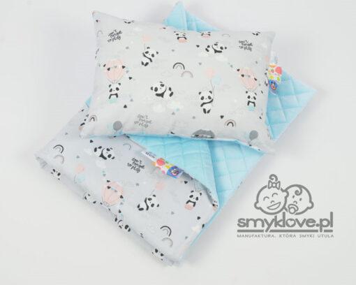 Kocyk velvet pandy z poduszką z wypełnieniem dla przedszkolaków - Smyklove