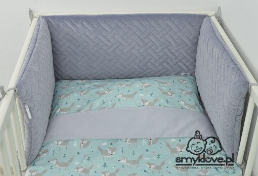 Szary ochraniacz do łóżeczka z pościelą 120x90 - SMYKLOVE
