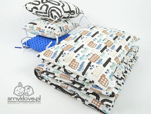 Prezentacja pościeli do łóżeczka samochody z ochraniaczem chabrowym - Smyklove