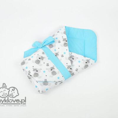 Rożek z bawełny cute teddy niebieski - Smyklove