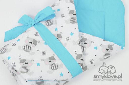 Zbliżenie na tkaniny w rożku Cute Teddy niebieskim - Smyklove