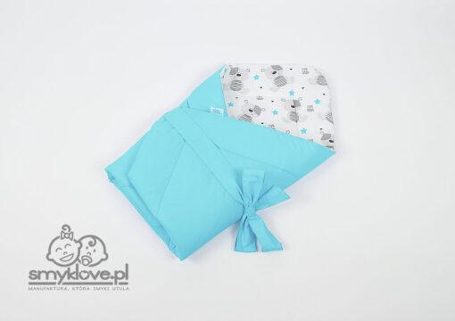 Bawełna gładka niebieska oraz cute teddy w rożku niemowlęcym od Smyklove