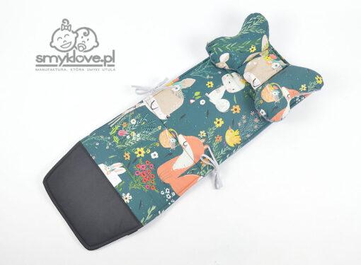 Wsad do spacerówki Espiro Next z bawełny premium las zwierzątka kwiatki oraz velvetu pikowanego szarego - Smyklove
