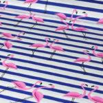 Bawełna flamingi na granatowych paskach