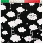 Bawełna białe chmurki z drabinkami na czarnym