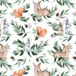 Bawełna premium leśne zwierzęta