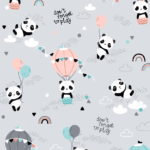 Bawełna premium pandy z balonikami na szarym