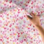 Bawełna premium drobne serduszka malowane
