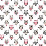 Bawełna sowy różowe