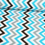Bawełna zygzak szaro-niebieski