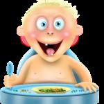 Zadowolone dziecko w krzesełku do karmienia