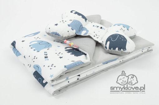 Kocyk velvet słonie z poduszką motylkiem - SMYKLOVE