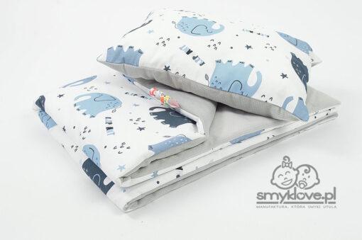 Kocyk velvet słonie z poduszką z wypełnieniem dla przedszkolaka - SMYKLOVE