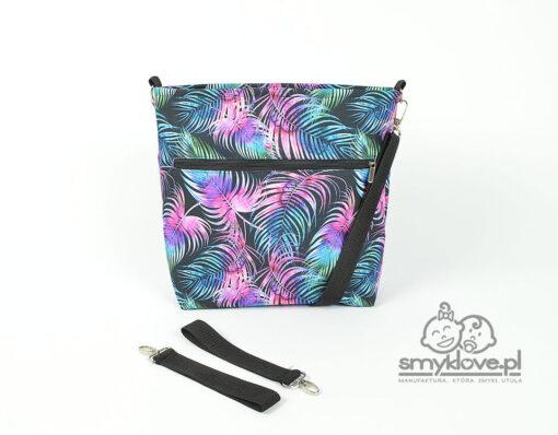 Duża torba do wózka fioletowa w palmy - Smyklove